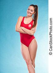 Lifeguard lifesaver woman in uniform - Lifeguard lifesaver...