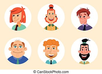 Set of diverse round avatars isolated on white background...