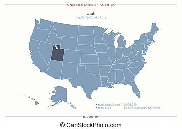 utah - United States of America isolated map and Utah State...