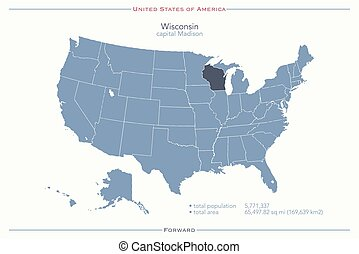 wisconsin - United States of America isolated map and...
