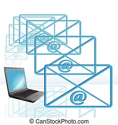 e-mail - Abstract illustration, computer, e-mail and blue...