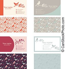 Set of business cards template with nature themes .With birds,branches,leaves and flowers.Vector illustration