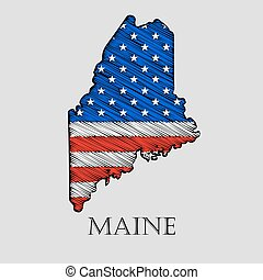 State Maine - vector illustration. - State Maine in scribble...