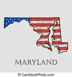 State Maryland - vector illustration - State Maryland in...