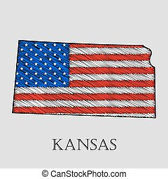 State Kansas - vector illustration. - State Kansas in...