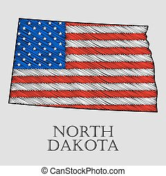 State North Dakota - vector illustration - State North...