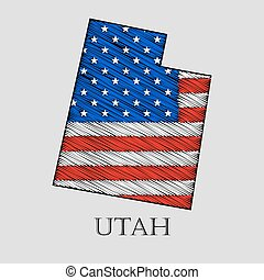 State Utah - vector illustration. - State Utah in scribble...