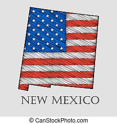 State New Mexico - vector illustration - State New Mexico in...