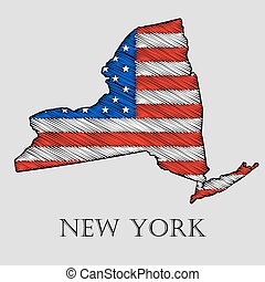 State New York - vector illustration. - State New York in...