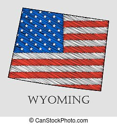 State Wyoming - vector illustration. - State Wyoming in...