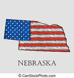 State Nebraska - vector illustration. - State Nebraska in...