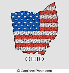 State Ohio in scribble style - vector illustration. Abstract...
