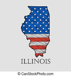 State Illinois - vector illustration. - State Illinois in...