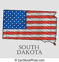 State South Dakota - vector illustration. - State South...