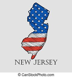 State New Jersey - vector illustration - State New Jersey in...