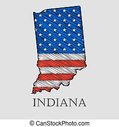 State Indiana - vector illustration - State Indiana in...