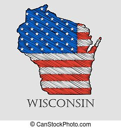 State Wisconsin - vector illustration - State Wisconsin in...