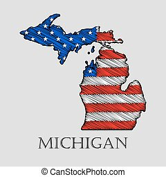 State Michigan - vector illustration. - State Michigan in...