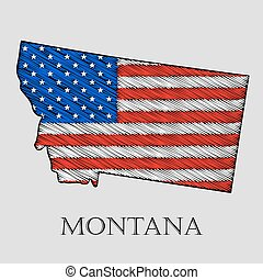 State Montana - vector illustration - State Montana in...