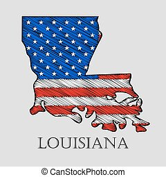 State Louisiana - vector illustration. - State Louisiana in...