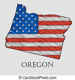 State Oregon - vector illustration. - State Oregon in...