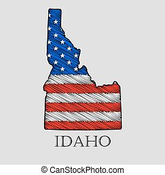 State Idaho - vector illustration. - State Idaho in scribble...