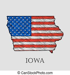 State Iowa - vector illustration. - State Iowa in scribble...