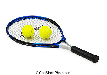 Two tennis balls and racquet isolated on white
