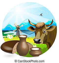 Milk in pitcher