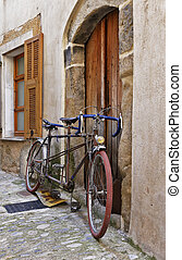 Bicycle on the old street in France - Bicycle on the old...