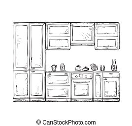 Hand drawn kitchen furniture. - Kitchen cupboard, kitchen...