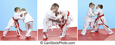 Collage of kids trained sparring - Collage of children...