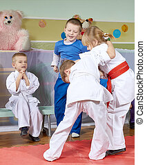 Girl and boy are trained sparring - Girl and boy are trained...