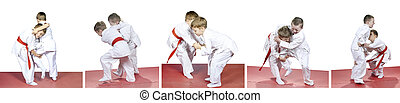 Children are trained judo sparring - In kindergarten, the...
