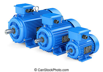 Group of blue electric industrial motors Isolated on white...