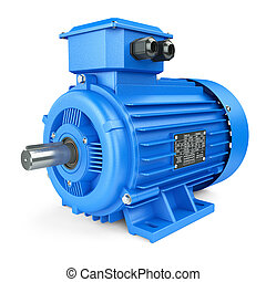 Blue electric industrial motor. Isolated on white background...
