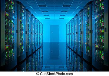 Server room in data center.