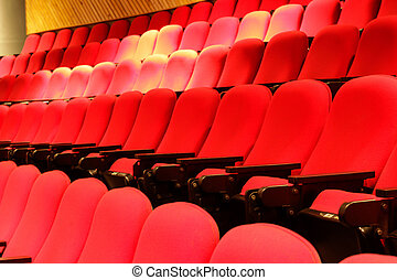 Red theater seats - Photograph of some empty red theater...