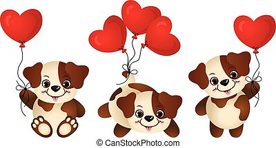 Dog with heart balloon