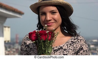 Happy Woman With Red Roses