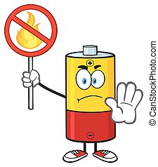 Battery Holding A No Fire Sign - Angry Battery Cartoon...
