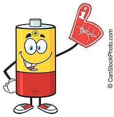 Funny Battery Cartoon Character