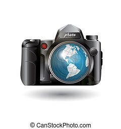 photo camera - Vector drawing digital photo camera on white...