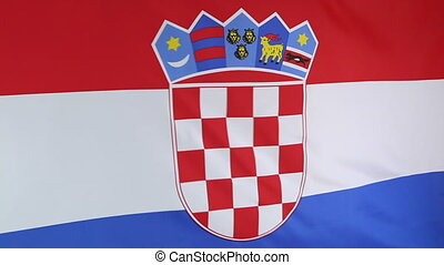 Closeup of Croatia flag moving in the wind