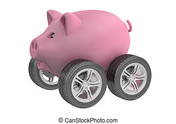 Piggy bank with wheels, 3D rendering