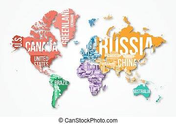Vector detailed world map with borders and country names...