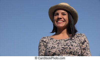 Smiling Woman On Sunny Day