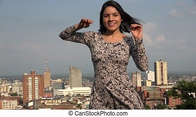 Happy Young Woman Dancing