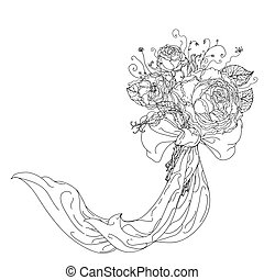 hand drawn wild roses set - Highly detailed hand drawn wild...