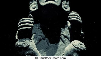 Ancient Mayan Statue With Dust - Mayan carved stone statue...